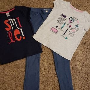 Gymboree Set of 3: Two shirts + one pair jeggings